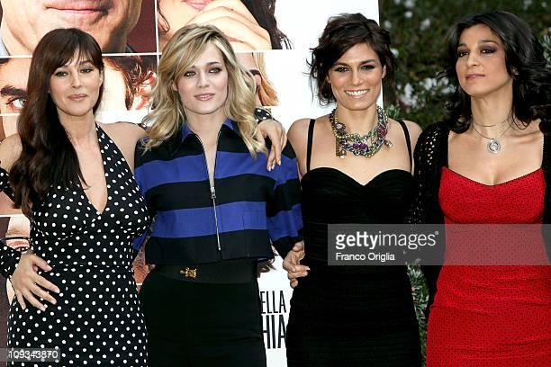 Italian actresses Monica Bellucci Laura Chiatti Valeria Solarino and Donatella Finocchiaro attend 'Manuale D' Amore 3' photocall at Hotel de Russie...