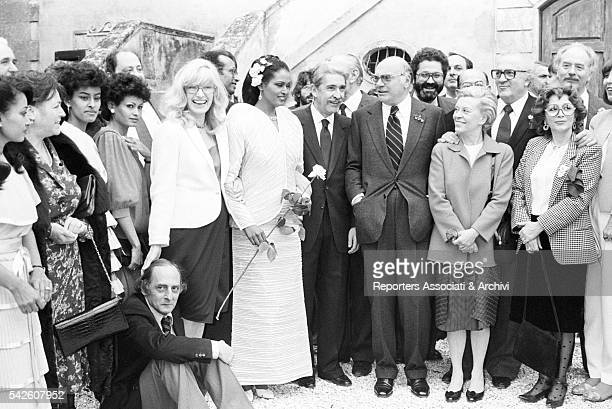 Italian actresses Monica Vitti and Giulietta Masina and Italian directors Federico Fellini and Francesco Rosi at the wedding of Italian producer...