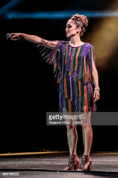 Italian actress/singer Lodovica Comello performs on stage at Teatro Degli Arcimboldi on May 26 2017 in Milan Italy