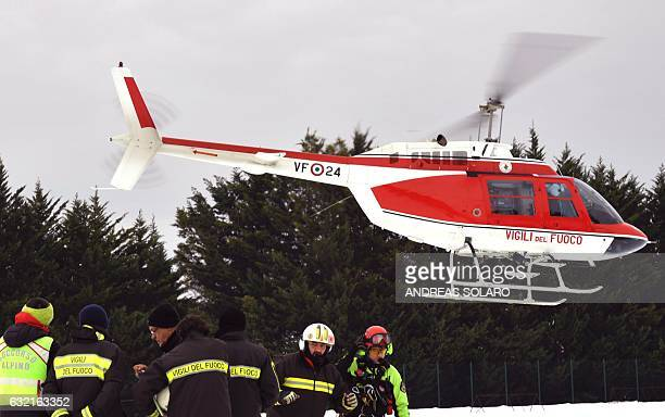 Italian air helicopters rescuers join the rescue operation near the village of Penne after an avalanche engulfed the mountain hotel Rigopiano in...