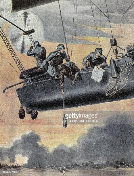 Italian airship bombing the Turkish positions in Libya 1912 ItaloTurkish War Libya 20th century