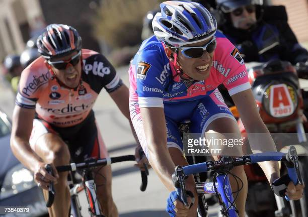Italian Alessandro Ballan and Belgian Leif Hoste ride in the leading pack during the 91st Tour of Flanders cycling race between Brugge and Meerbeke...