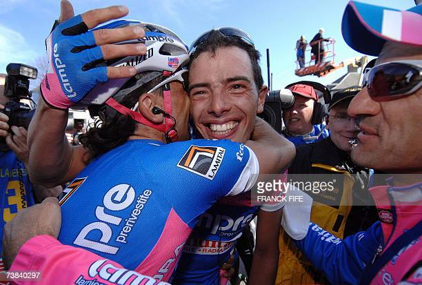 Italian Alessandro Ballan is congrtuled by teammate after winning the 91st Tour of Flanders cycling race between Bruges and Meerbeke 08 April 2007...