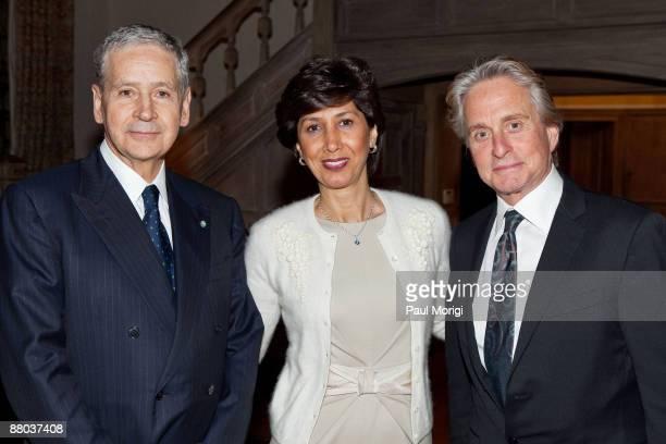 Italian Ambassador Giovanni Castellaneta Lila Castellaneta and actor Michael Douglas at the Italian Earthquake Relief dinner at Italian Ambassador's...