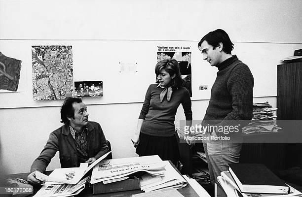 Italian anarchist and writer Pietro Valpreda talking to Italian journalists of the magazine Panorama Carlo Rossella and Chiara Valentini 1980s