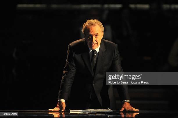 Italian anchor man Michele Santoro during television show 'RAI per una Notte' at PalaDozza on March 25 2010 in Bologna Italy