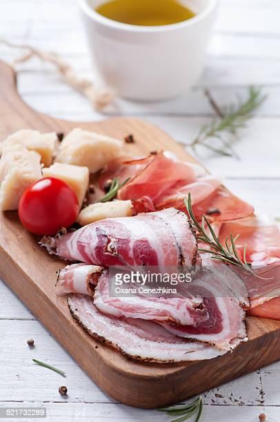 Italian antipasto with cheese and ham