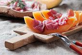 Italian antipasto with melon and prosciutto
