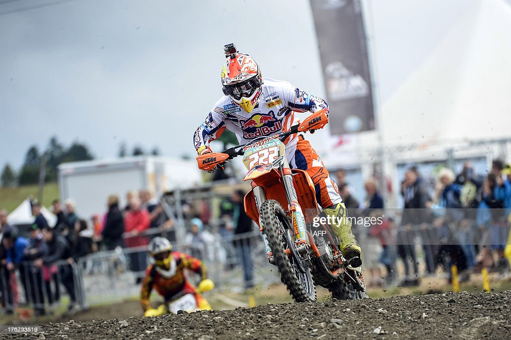 Italian Antonio Cairoli rides during the motocross MX1 Belgian Grand Prix, on August 18, 2013 in Bastogne.