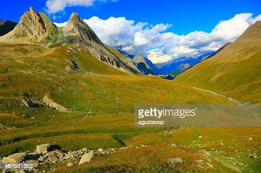 Italian Aosta Valley alpine landscape, grandes jorasses pinnacles
