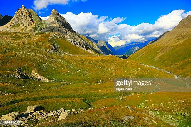 Italian Aosta Valley alpine landscape, grandes jorasses pinnacles