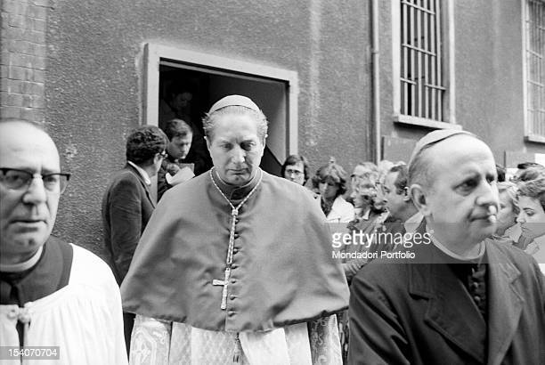 Italian archbishop Carlo Maria Martini attending the funeral of Italian journalist Walter Tobagi Milan 30th May 1980