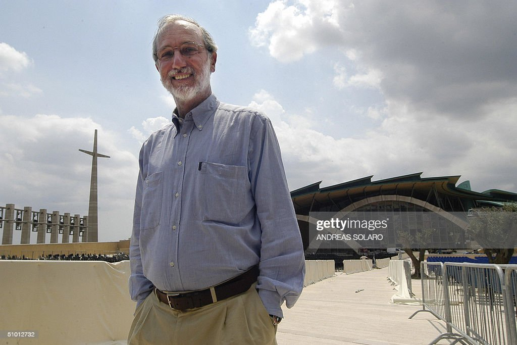 Italian architect Renzo Piano poses in front of his huge church dedicated  to Padre Pio in