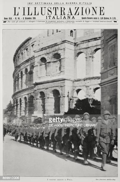 Italian Arditi parading below the Pula amphitheatre Croatia World War I from l'Illustrazione Italiana Year XLV No 49 December 8 1918
