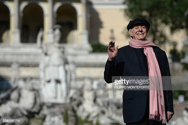 Italian artist Dario Fo attends a campaign meeting of Virginia Raggi Five Star Movement candidate for the election of Rome's mayor on June 3 2016 at...