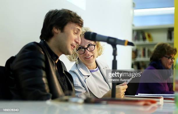 Italian artist Francesco Vezzoli and Maxxi director Giovanna Melandri attend the 'The Trinity' exhibition press conference at Maxxi Museum on May 23...