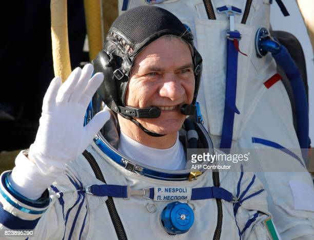 ESA Italian astronaut Paolo Nespoli a member of the main crew of the 51/52 expedition to the International Space Station gestures as he poses on the...