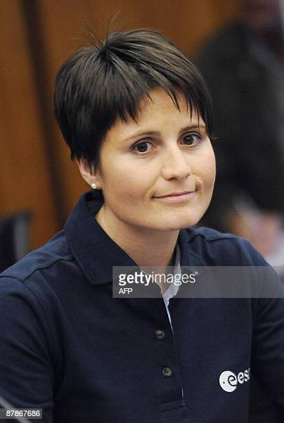 Italian astronaut Samantha Cristoforetti and new recruit of the European Space Agency poses during a press conference presenting the ESA's six new...