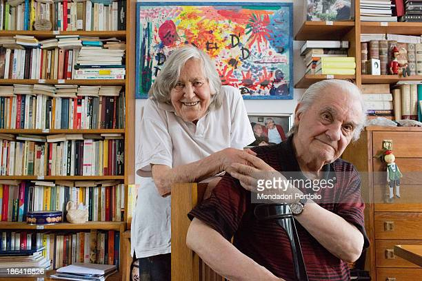 Italian astrophysicist Margherita Hack holding her husband Aldo De Rosa by the hand at home where they keep over twenty thousand books Trieste 21st...