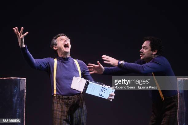 Italian author and actor Stefano Pesce and his collegue Diego Ribon rehearse of their latest work 'Crisi' at Arena Del Sole Theater on May 15 2017 in...