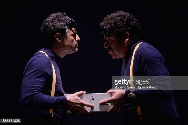 Italian author and actor Stefano Pesce and his collegue Diego Ribon have general rehearsal of their latest work 'Crisi' at Arena Del Sole Theater on...