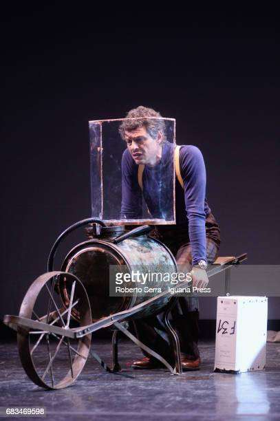 Italian author and actor Stefano Pesce rehearses 'Crisi' at Arena Del Sole Theater on May 15 2017 in Bologna Italy