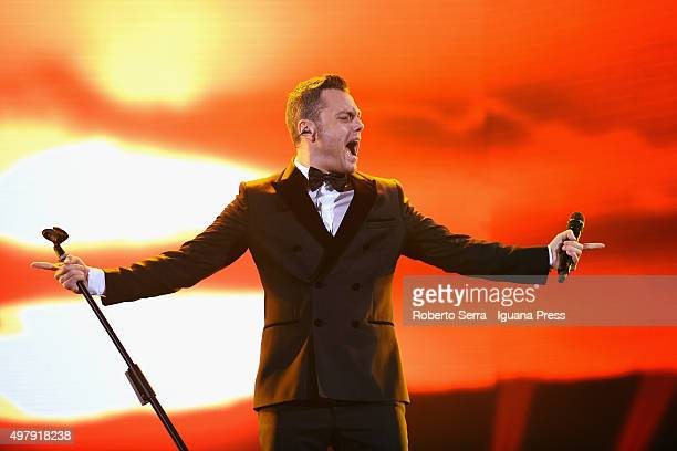 Italian author and pop singer Tiziano Ferro performs at Unipol Arena on November 19 2015 in Bologna Italy