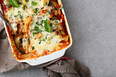 Italian baked pasta, food background