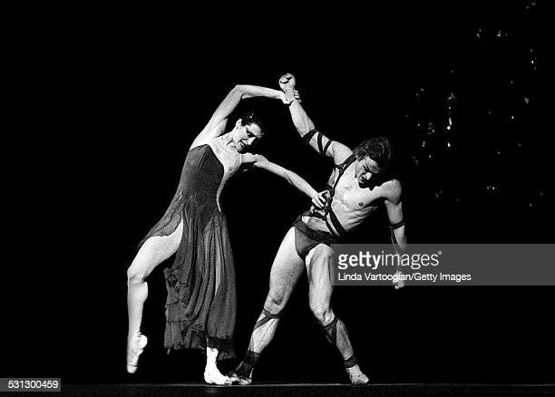 Italian ballerina Carla Fracci and Russianborn American dancer Mikhail Baryshnikov perform in the American Ballet Theatre's production of 'Medea' at...