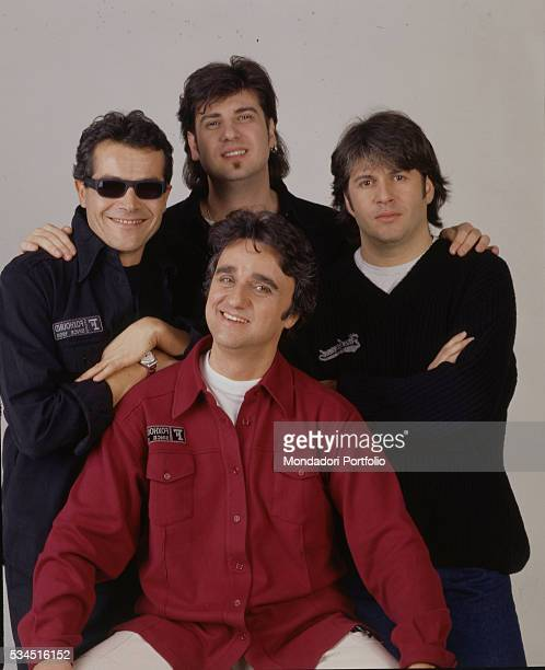 Italian band 'Stadio' posing for a photoshooting Clockwise from the left the drummer Giovanni Pezzoli the bass player Roberto Drovandi the guitarist...