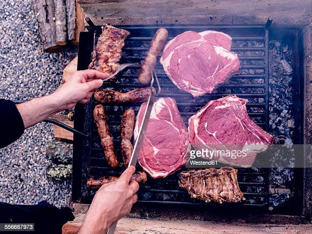 Italian barbecue with Bistecca alla Fiorentina, Salsiccia and cured pork