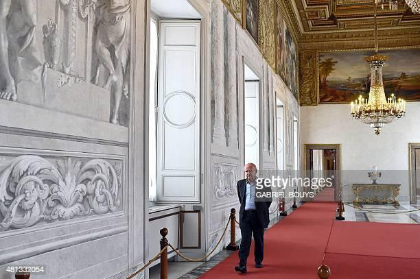 Italian Belgianborn Advisor for the Preservation of the Artistic heritage of the Italian President Louis Godart walks in the Napoleonic apartments in...