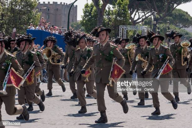 Italian Bersaglieri attend the military parade during the celebrations of the Italian Republic Day on June 2 2017 in Rome Italy
