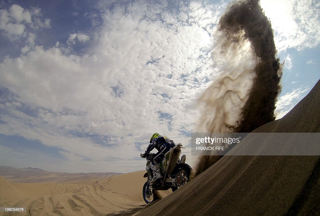 Italian biker Alessandro Zanotti powers his TM during the Dakar 2013 Stage 6 between Arica and Calama, Chile, on January 10, 2013. The rally is taking place in Peru, Argentina and Chile from January 5 to 20.