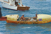Italian born British rower and adventurer John Fairfax arrives in Florida after becoming the first person to row solo across the Atlantic Ocean from...