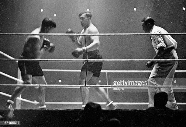 Italian boxer and 1933/34 world heavyweight champion Primo Carnera in his victory over Moise Bouquillon in the Palais des Sports/Paris 26th January...