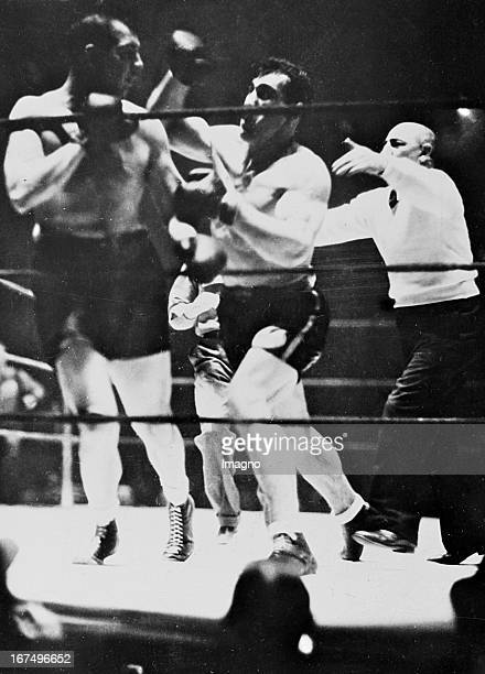 Italian boxer and 1933/34 world heavyweight champion Primo Carnera in his victory over Ray Impelletier by KO in New York 27th March 1935 Photograph...
