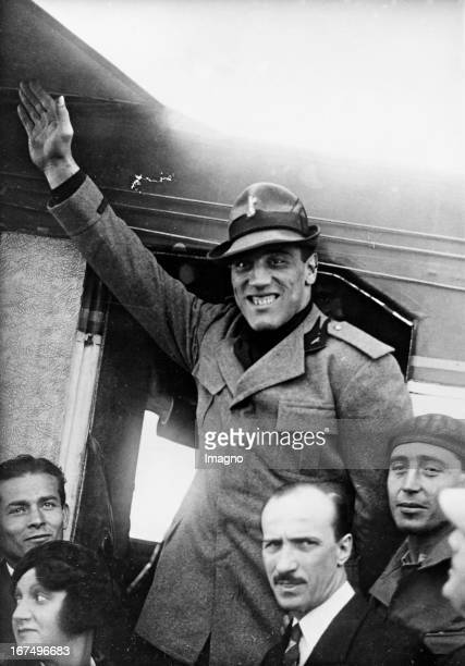 Italian boxer and 1933/34 world heavyweight champion Primo Carnera in fascist uniform at his arrival in Rome 23rd October 1933 Photograph Der...