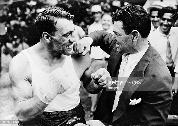Italian boxer and 1933/34 world heavyweight champion Primo Carnera with the former heavyweight champion Jack Dempsey In Prompton Lakes / New Jersey...