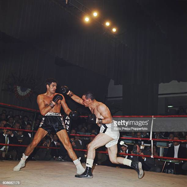 Italian boxer Nino Benvenuti pictured left in action against American boxer Don Fullmer in a World Middleweight championship fight at the Ariston...