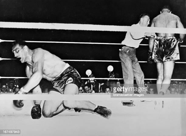 Italian boxer Primo Carnera 1933/34 World heavyweight champion fights against Joe Louis Winner in the 6th Round Joe Louis Third July 1935 Photograph...