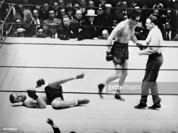 Italian Boxer Primo Carnera in his fight with the American heavyweight boxing champion Max Baer that ended with a victory by technical knockout Baers...