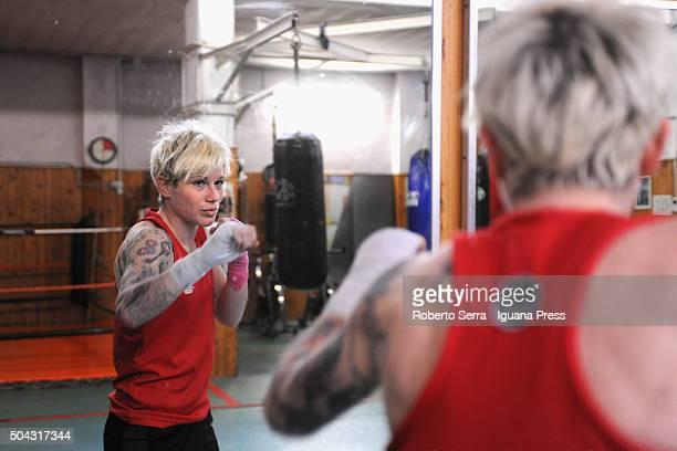 Italian boxing champion of 64 kg rank Sara Corrazza take her practice at Pugilistica Tranvieri Bologna gym on December 22 2015 in Bologna Italy