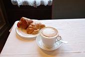 Italian Breakfast, Cuppccino and Cornetto, Florence, Italy
