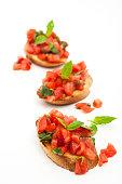 close-up of italian bruschetta