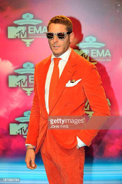 Italian businessman and family heir of Fiat Lapo Elkann poses as he arrives to attend the MTV European Music Awards 2013 at the Ziggo Dome on...