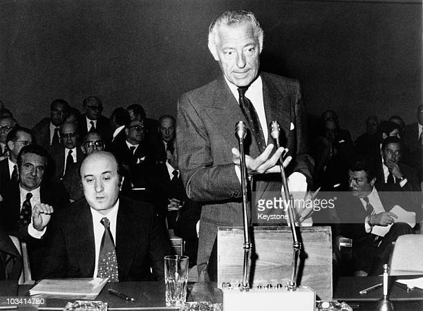 Italian businessman Gianni Agnelli President of Fiat gives a speech upon his election as President of the Confindustria the Italian employers'...