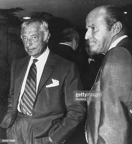 Italian businessmen Leopoldo Pirelli and Gianni Agnelli shareholders at Fiat pictured following the selling of Fiat shares to Libya Rome January 1977