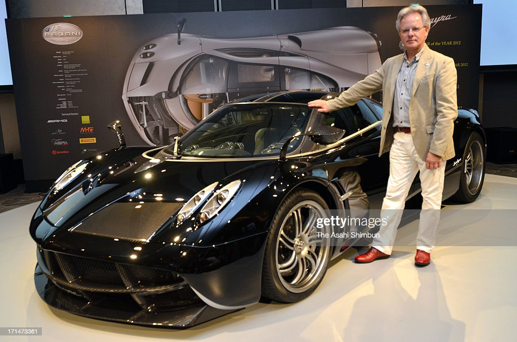 Italian car maker Pagani founder nad designer Horacio Pagani introduce supercar 'Hyuayra' is displayed at its reveiling on June 24, 2013 in Tokyo, Japan. Pagani, founded by former Lamborghini designer Horacio Pagani in 1991, have produced order-made supercars.