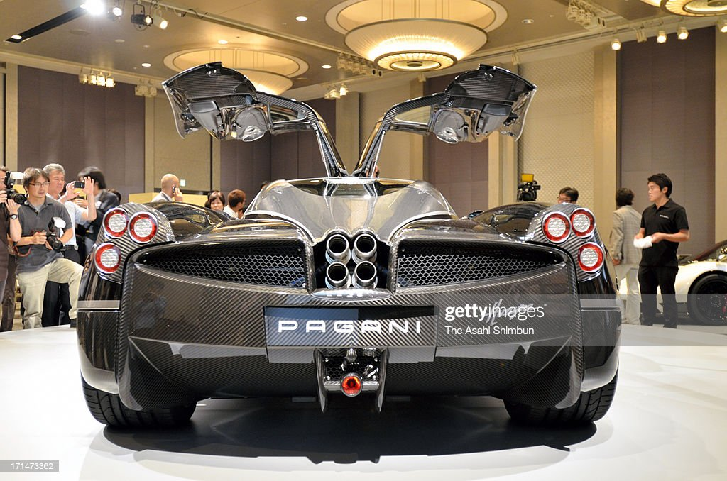 Italian car maker Pagani's supercar 'Hyuayra' is displayed at its reveiling on June 24, 2013 in Tokyo, Japan. Pagani, founded by former Lamborghini designer Horacio Pagani in 1991, have produced order-made supercars.